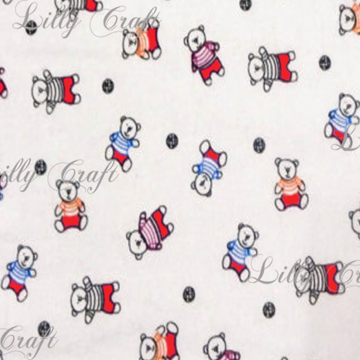 Flannel Bears with Red Accents 45 Inch Fabric by the Yard