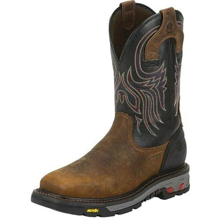 Justin Work Boots Mens Buffalo Steel Toe Ortholite Insole