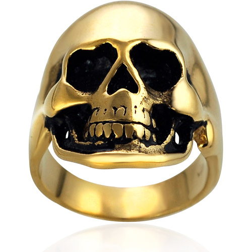 Daxx Men's Gold over Stainless Steel Skull Ring