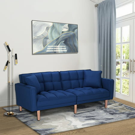 SEVENTH Convertible Sofa Bed with Armrest, Modern Fabric Sleeper Sofa Bed, Futon Couches and Sofas Sleeper with Wood Legs, Two Pillows, Recliner Couch Living Room Furniture Sofa for Home, Q138