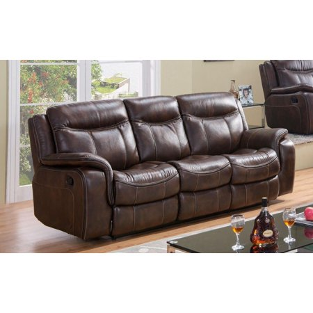 Premium Brown Leather (McFerran SF3739-S Brown Premium Leather Air Fabric Reclining Sofa)