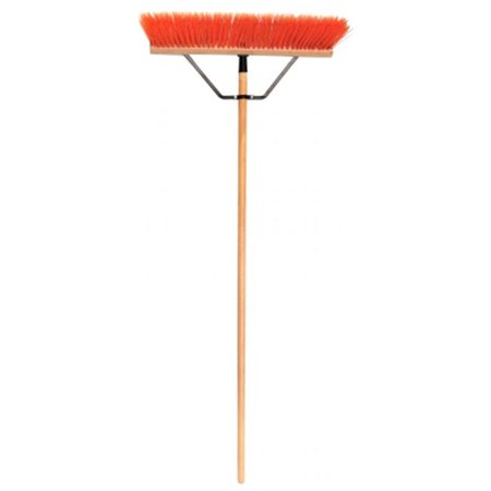 24 in. Stiff Poly Push Broom With 60 in. Wood (Stiff Broom)