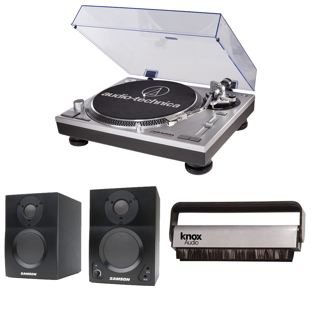Audio Technica AT-LP120-USB Turntable + Two Studio Monitors + Knox Vinyl Brush Cleaner by Audio-Technica