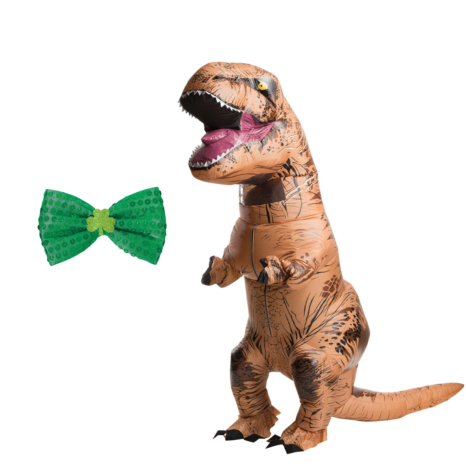 Inflatable T-Rex Adult Costume St Patricks Green Bowtie Bundle