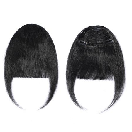 S-noilite Clips in Hair Bangs Fringe Hair Extensions Clip On Bang Topper 3D Straight Hairpieces False Short Flat Two Side (Short Medium Length Layered Hairstyles With Bangs)