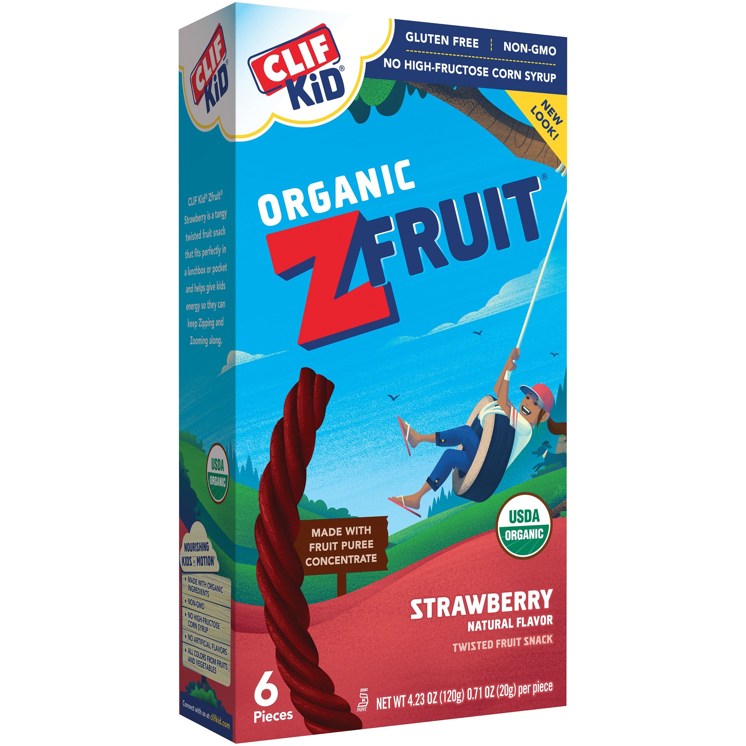 Clif Kid Organic Z Fruit Snack, Strawberry, 0.71 Oz, 6 Ct