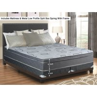 "WAYTON, 10"" Meduim Firm Foam Encased Hybrid Eurotop Pillowtop Innerspring Mattress And 4"" Split Metal Box Spring/Foundation Set With Frame, Good For The Back, Queen Size 79"" x 59"""