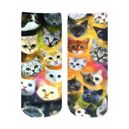 Living Royal Photo Print Ankle Socks: Galaxy Kitty - image 1 de 1