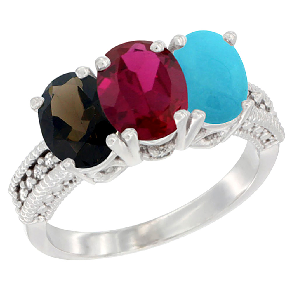 10K White Gold Natural Smoky Topaz, Enhanced Ruby & Natural Turquoise Ring 3-Stone Oval 7x5 mm Diamond Accent, sizes 5... by WorldJewels
