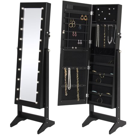 Best Choice Products LED Lighted Mirrored Jewelry Cabinet Armoire W/ Stand- Black ()