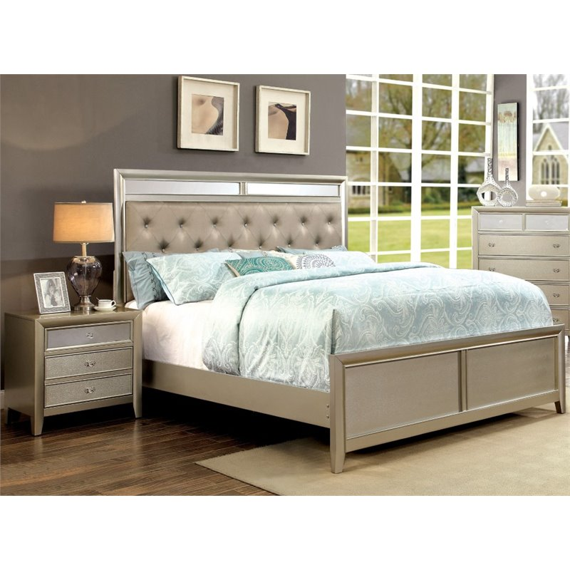 Furniture of America Maire 2 Piece King Bedroom Set in Silver by Furniture of America