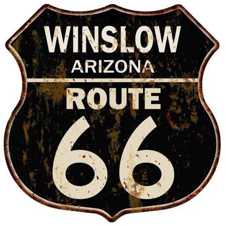 WINSLOW, ARIZONA Route 66 Shield Metal Sign Man Cave Garage 211110014008