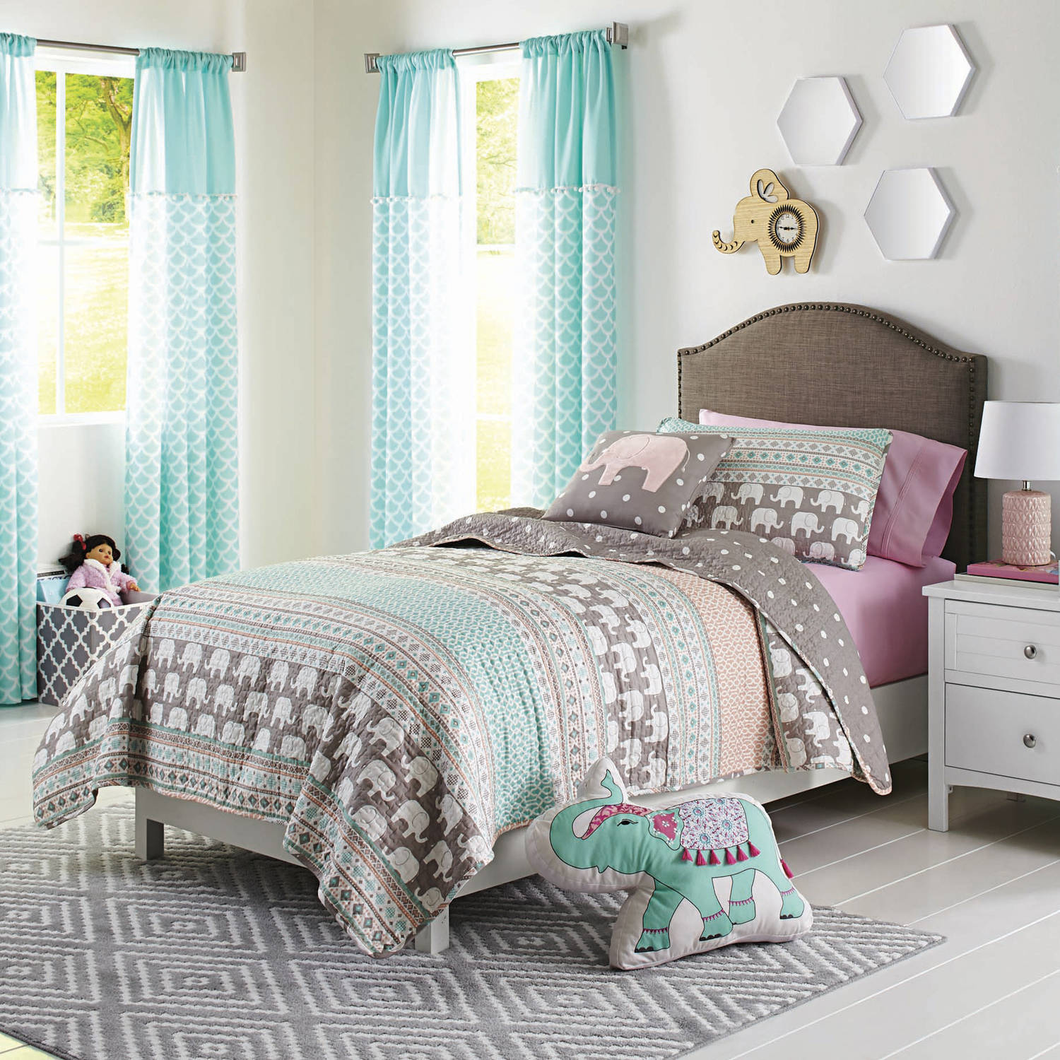 Click here to buy Better Homes and Gardens Kids Elephant Stripe Bedding Quilt Set.