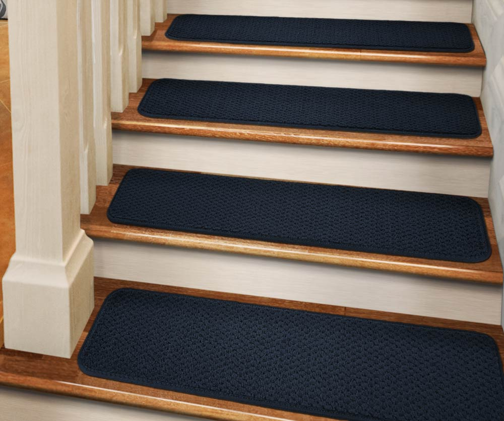 Set Of 12 Tape Down Carpet Stair Treads   Navy Blue   8 In.