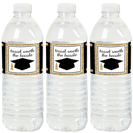 Gold - Tassel Worth The Hassle - 2019 Graduation Party Water Bottle Sticker Labels - Set of 20 - Graduation Water Bottle Labels