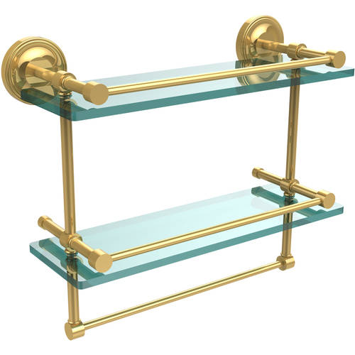 """16"""" Gallery Double Glass Shelf with Towel Bar"""