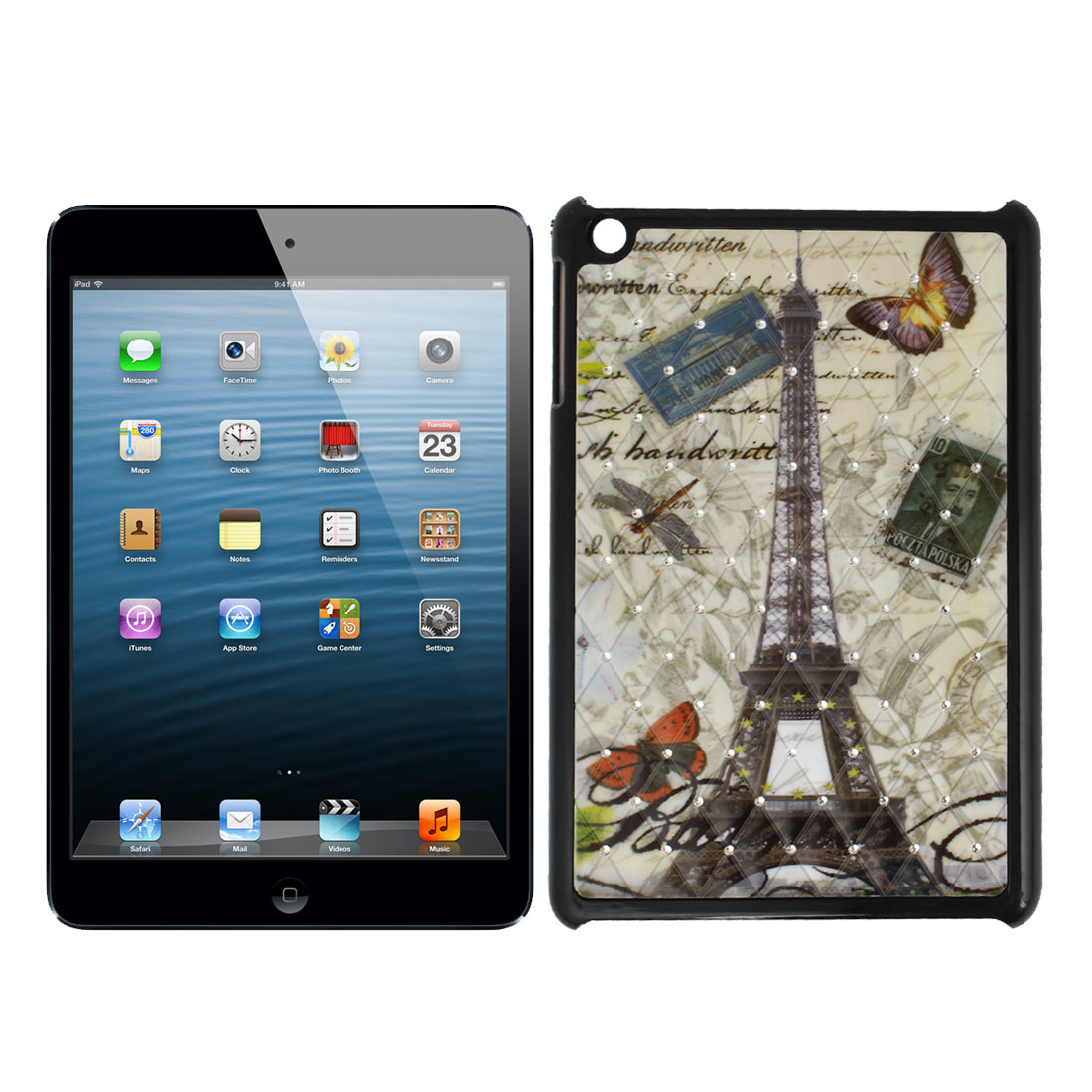 Eiffel Tower Pattern Glitter Diamante Decor Back Case Black for Apple iPad