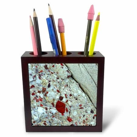Pudding Rock (3dRose Pudding stone, jasper quartz, rock mineral - US23 BJA0030 - Jaynes Gallery, Tile Pen Holder,)