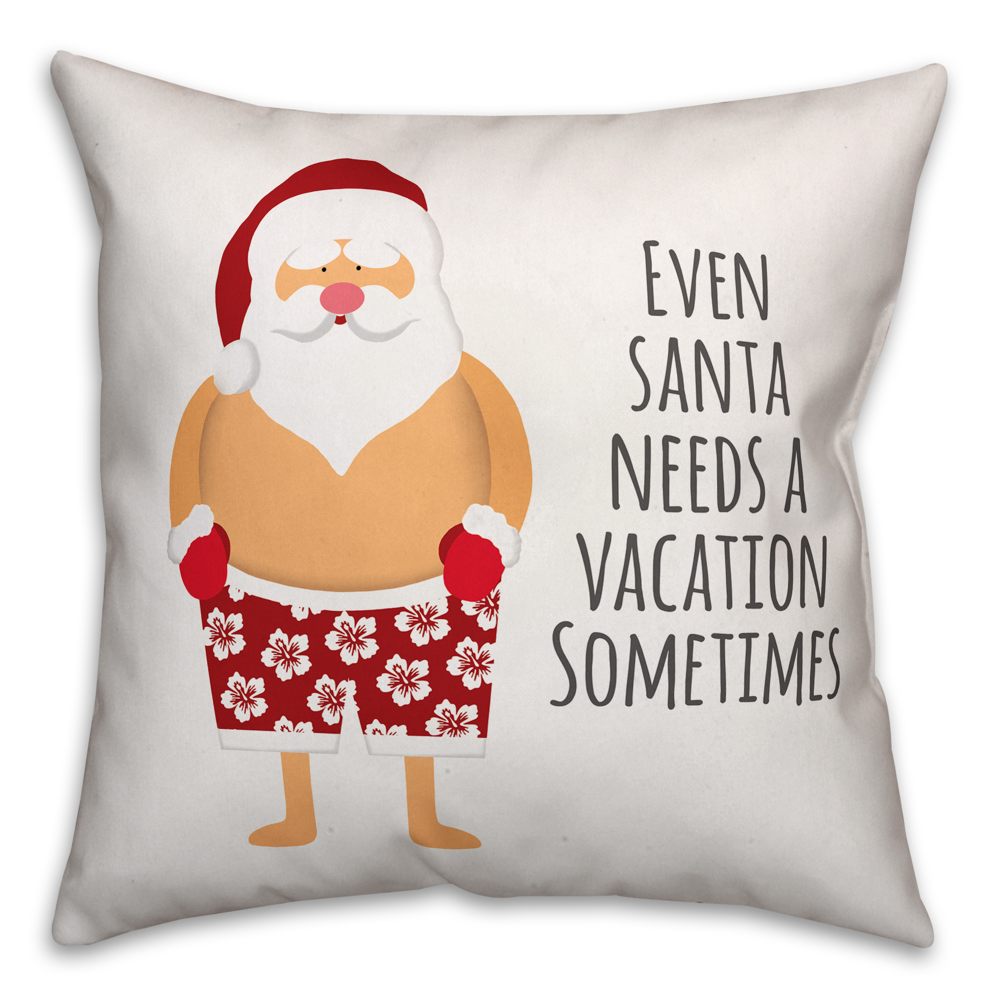 Santa Vacation 16x16 Spun Poly Pillow Cover