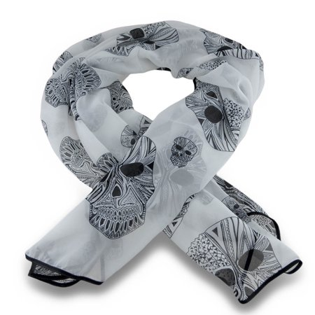 Diamond Skulls Sheer Printed Fashion Scarf 58 x 45 in.