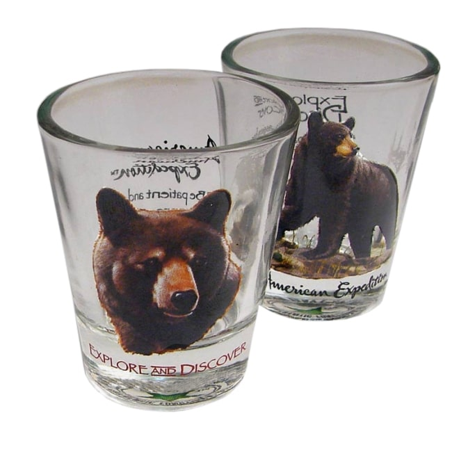 American Expedition Set of 2 Shot Glasses (Black Bear)