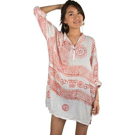 c9900374d0a7 Tribe Azure - Women Om Oversize Shirt Dress Summer Beach Boho Cotton Casual  Top Tunic Hippie White - Walmart.com