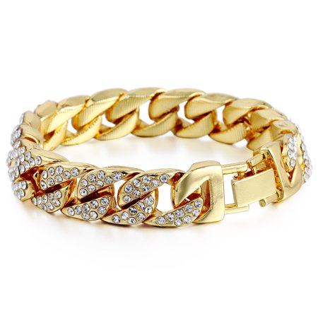 Hermah 14mm Mens Womens Chain Hiphop Iced Out Curb Cuban Gold Plated Bracelet w Paved Clear Rhinestones 8.28inch Curb Mens Gold Bracelet