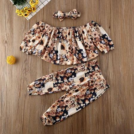 Toddler Kids Baby Girl Floral Off Shoulder Tops Pants Leggings Outfit Clothes - image 3 de 4