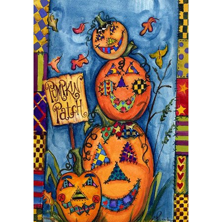 Image of Pumpkin Patch 28 x 40 Inch Decorative Colorful Fall Autumn Halloween House Flag