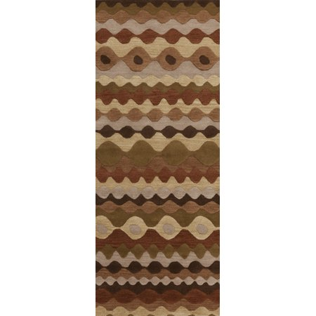 2.5' x 8' Effectual Waves Brick and Tan Hand Woven Wool Area Throw Rug Runner