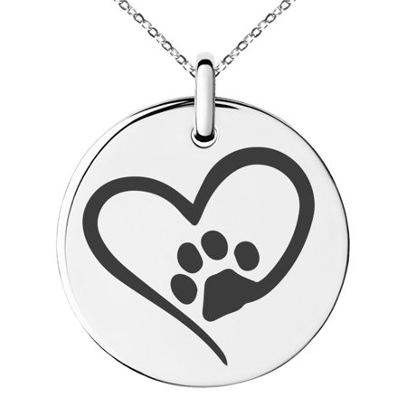 Stainless Steel Dog Paw Heart Engraved Small Medallion Circle Charm Pendant Necklace Circle Of Love Pendant Necklace