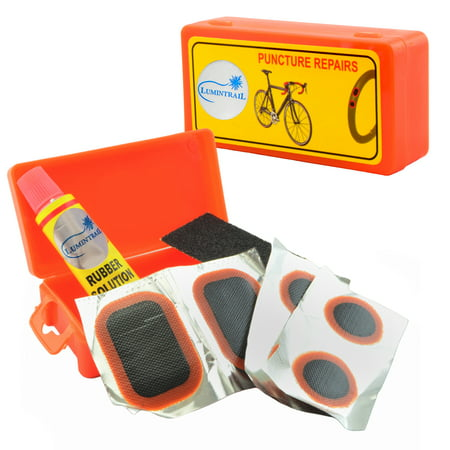 Lumintrail Bicycle Bike Tire Tube Repair Kit - 6 Rubber Patches + Sandpaper + Rubber Patch Cement, in Compact Portable Case (1 or Multiple Pack) ()