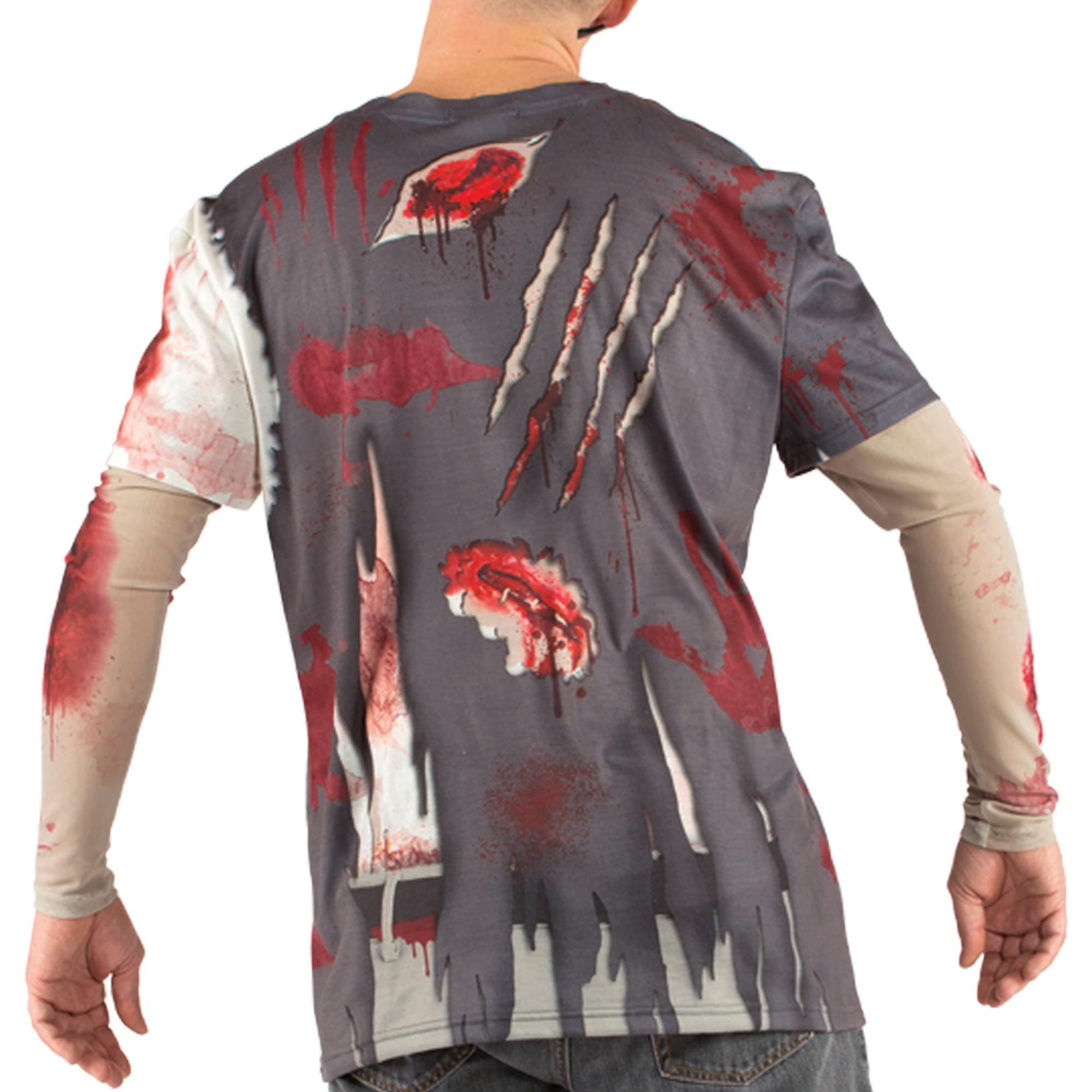 Big Men's Zombie Tee Shirt with Mesh Long Sleeves, 2XL