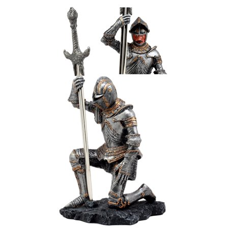Ebros The Accolade Kneeling Medieval Knight With Excalibur Sword Letter Opener Figurine 10