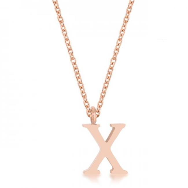 Icon Bijoux J11775 Elaina Rose Gold Stainless Steel X Initial Necklace - image 1 of 1