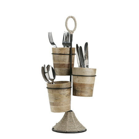 Mind Reader Utensil Caddy, Flatware Organizer, Serve ware Holder, Silverware, Cookware, Forks, Spoons, Knives - Brown