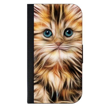 info for 0bc94 dcfae Cute Kitty Cat Up - Close - Wallet Style Cell Phone Case with 2 Card Slots  and a Flip Cover Compatible with the Apple iPhone 4 and 4s Universal