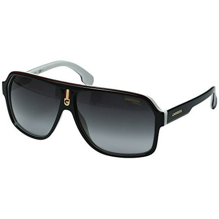 Carrera Men's Ca1001s Aviator Sunglasses, Black White/Dark Gray Gradient, 62 (Sunglasses Carrera 2014)