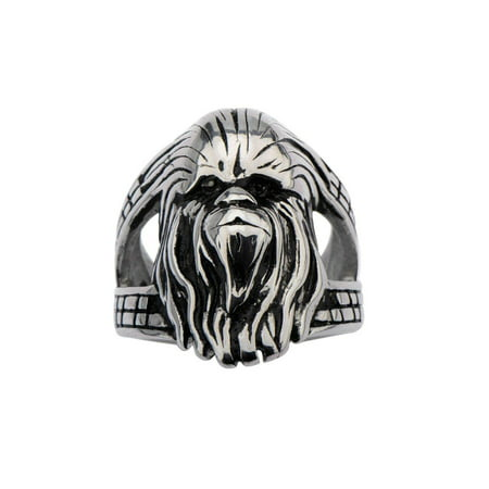 Men's Stainless Steel 3D Chewbacca Face Ring, Sizes (Light Stainless Steel Face Ring)