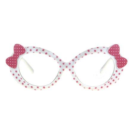 c865f4b19699 Kids Size Girls Polka Dot Oval Bow Jewel Trim Plastic Clear Lens Eye  Glasses White Pink Dot - Walmart.com
