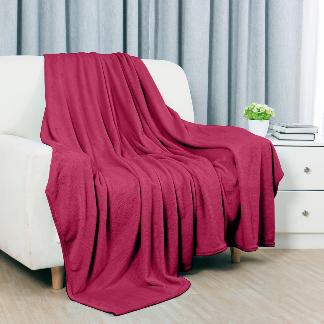 Unique BargainsTwin Size Home Bed Sofa Soft Fleece Throws Blanket Warm Soft Burgundy
