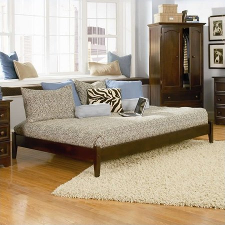 Atlantic Furniture Concord Platform Bed with Open Footrail in Antique Walnut-Full Walnut Antique Furniture