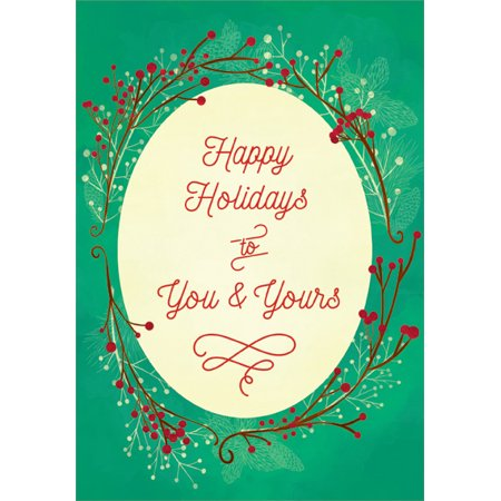 Oval Window Card (Designer Greetings Red Lettering in Oval Christmas)
