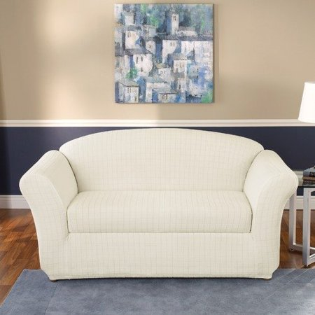 Sure fit stretch squares 2 piece sofa slipcover in ivory for Sofa cushion covers walmart