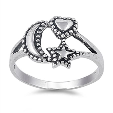 Oxidized Beaded Heart Moon Star Good Luck Ring ( Sizes 4 5 6 7 8 9 10 11 12 ) Sterling Silver Band Rings by Sac Silver (Size 5)