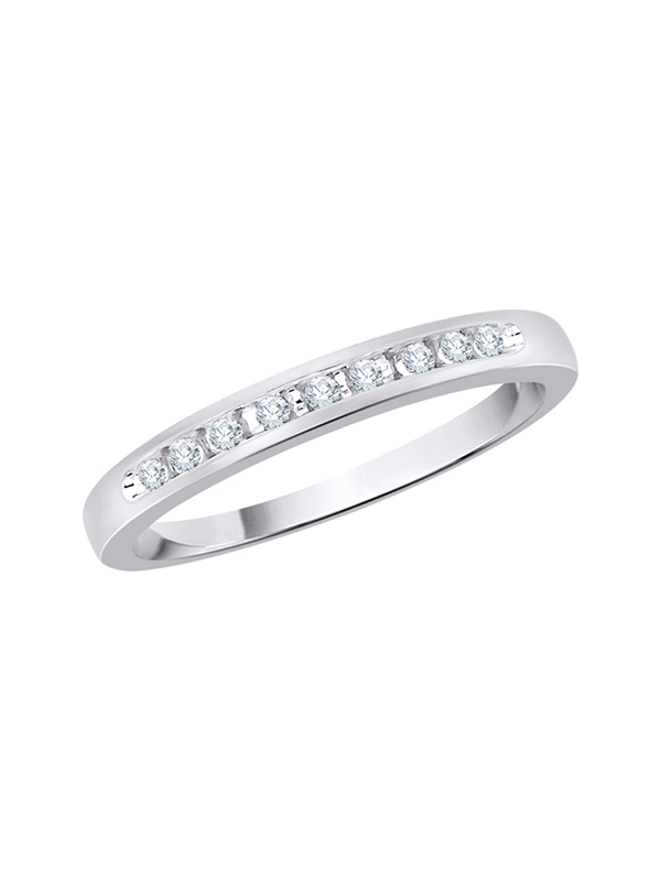 1//10 cttw, Size-6.5 G-H,I2-I3 Diamond Wedding Band in Sterling Silver