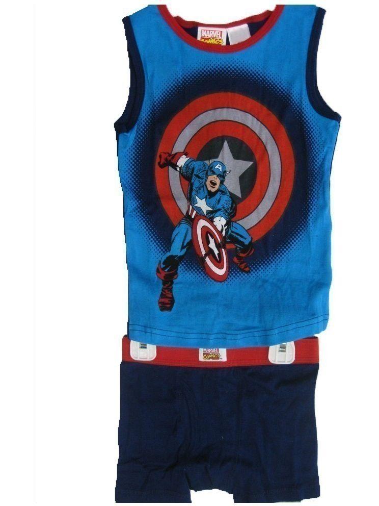 Boys Blue Captain America Tank Top Boxer Briefs 2 Pc Set 8