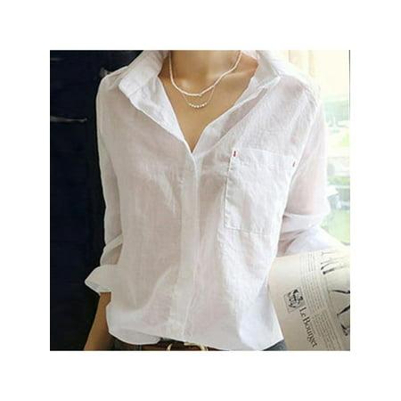 Topumt Women V-Neck Long Sleeve Cotton Linen Shirt Blouse Tops Barba Napoli Linen Shirt