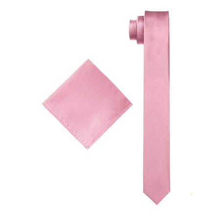 Men's Solid Slim Necktie with Matching Pocket Hanky Pink