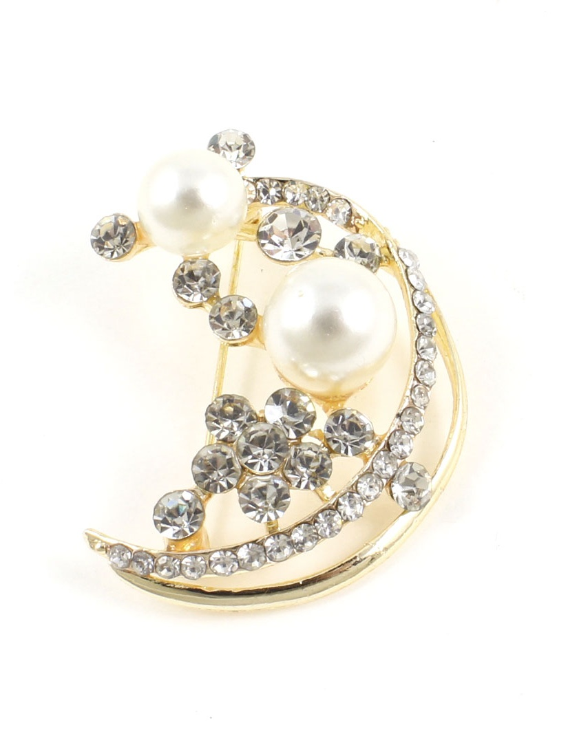 Gold Tone Faux Pearl Detailing Rhinestone Embellished Safty Pin Brooch